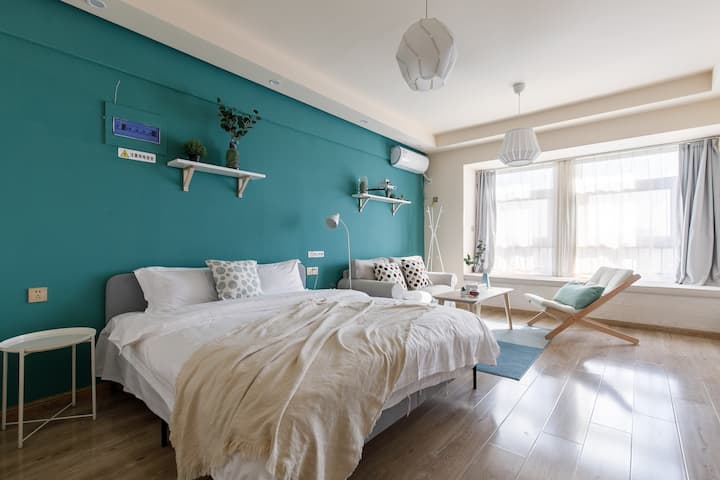 【奈斯优选】北园大街|邻荣盛国际|简约小清新|时尚生活|一居公寓民宿|多功能投影