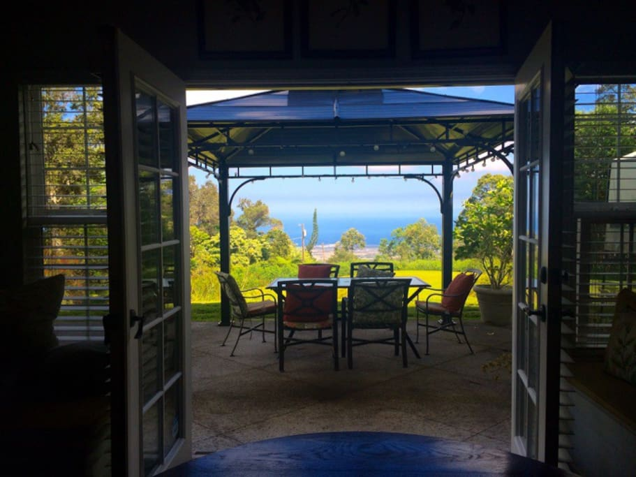 French doors open to patio.