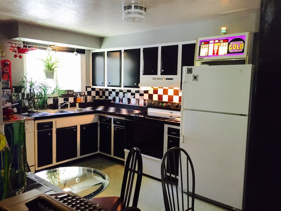 Your own private kitchen with microwave and coffee maker and stove ..... With bottled water supplied.