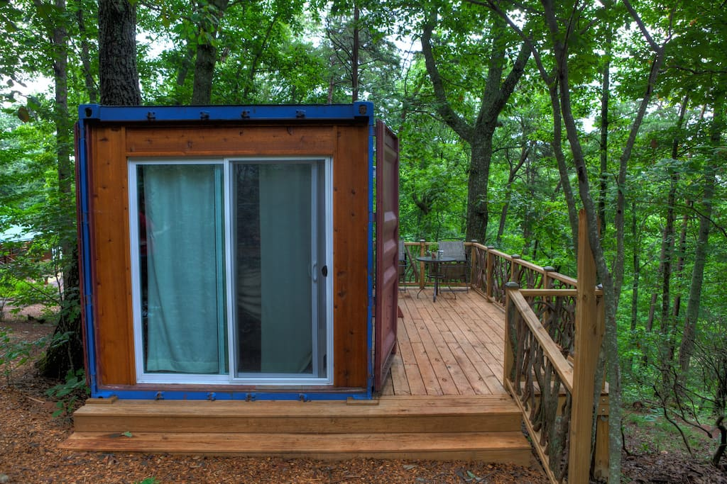 Sunrise shipping container tiny home cabins for rent in for Large cabin rentals north georgia