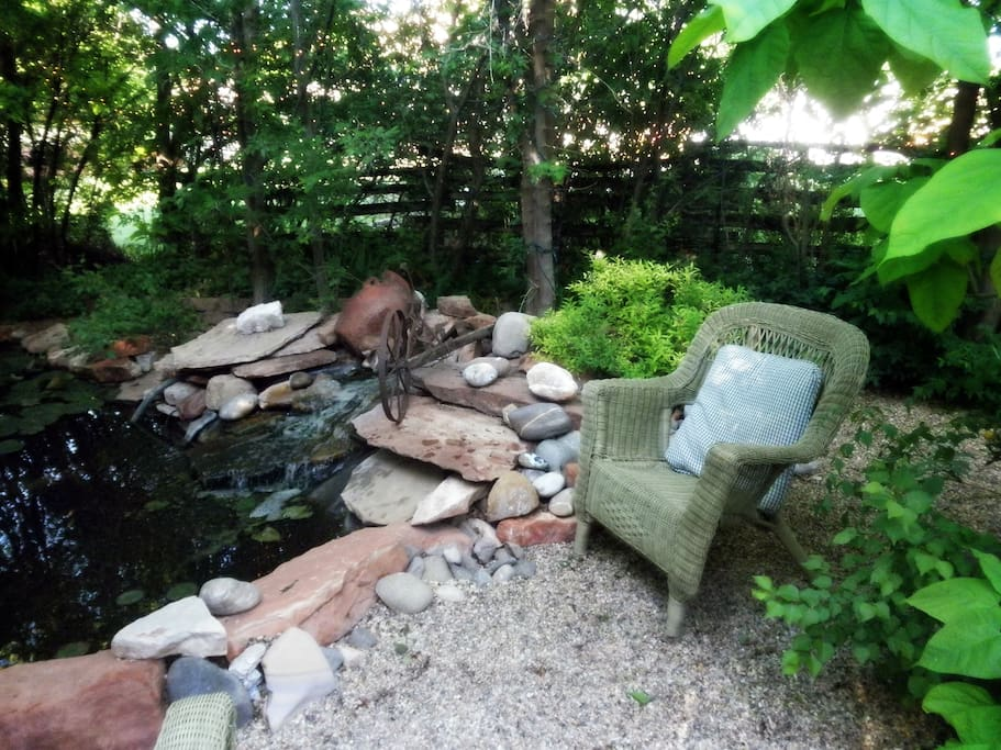Pond and sitting area