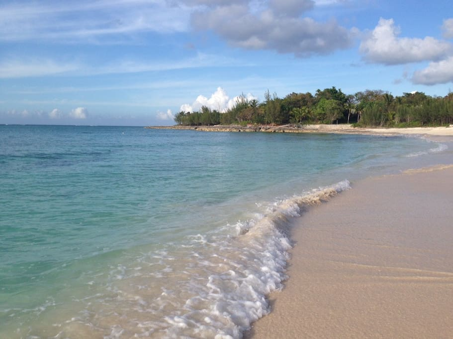 Our private beach has soft sand, clear waters.