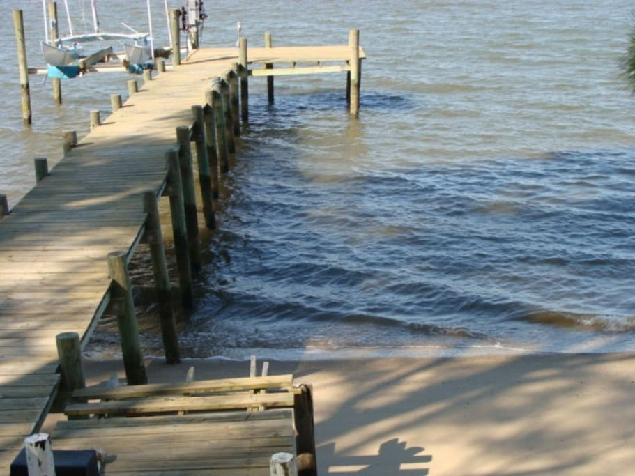 Dock and Sandy beach.