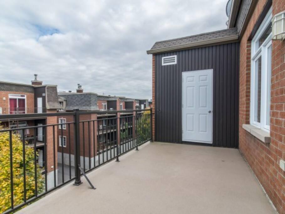 Balcony and storage room