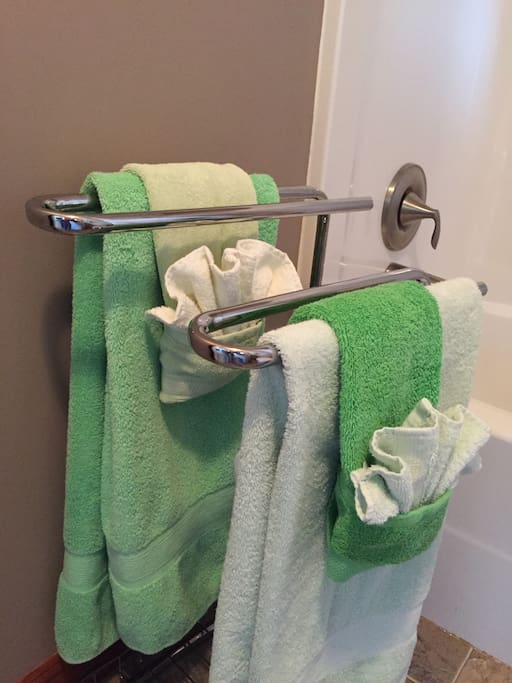 Pretty towels in your private bathroom.