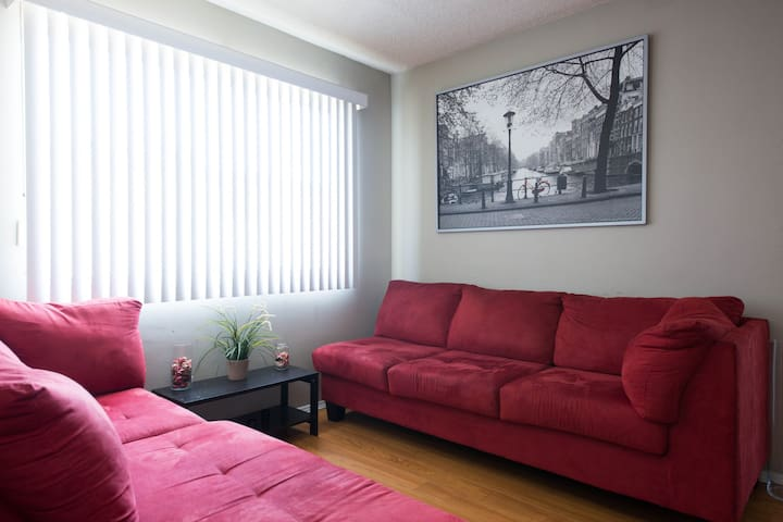 Second Living Room with Two 4 Seaters micro-fabric couches, for extra guests.