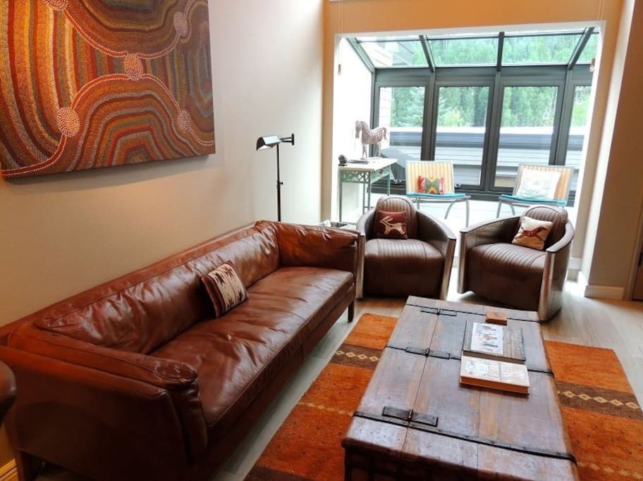Cimarron 19 - Living Area - Leather Sofa - Designer Chairs - Beautiful natural light and views of the Telluride Ski Resort