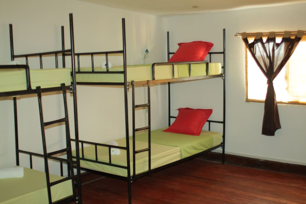 all dorms have electrical outlets, bedside lights, mosquito nets, secured lockers, free towels, sheets, soap, and many more