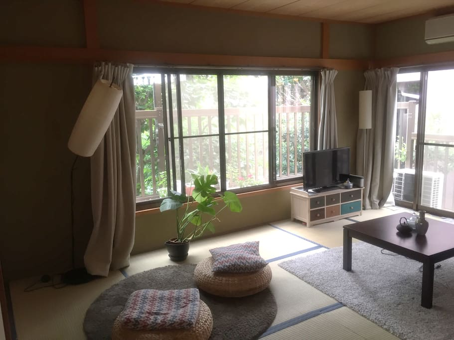 Living room with tatami, typical Japanese style equipped with TV, computer, internet connection, sofa (can be bed if needed), aircon etc