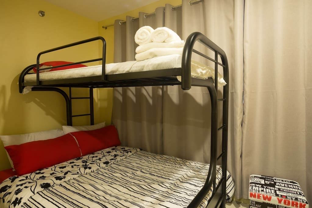 Bunk beds can accommodate 2 adults on the bottom and 1 adult on the top bunk.