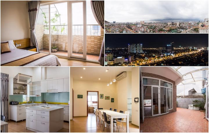 Spacious Penthouse,175m2, City View, Private Yard