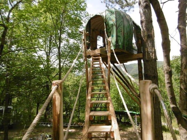Cabane dans un  arbre Land Art Larzac Cévennes 34