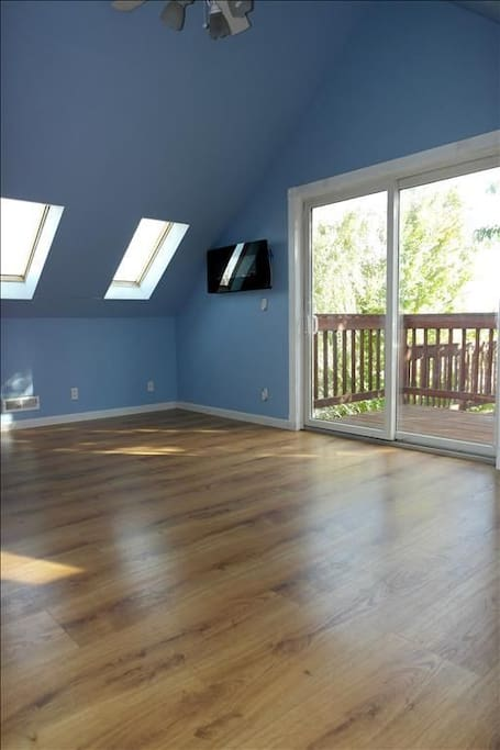 Bedroom with Skylights and access to second floor red wood deck with stairs access to outdoors.