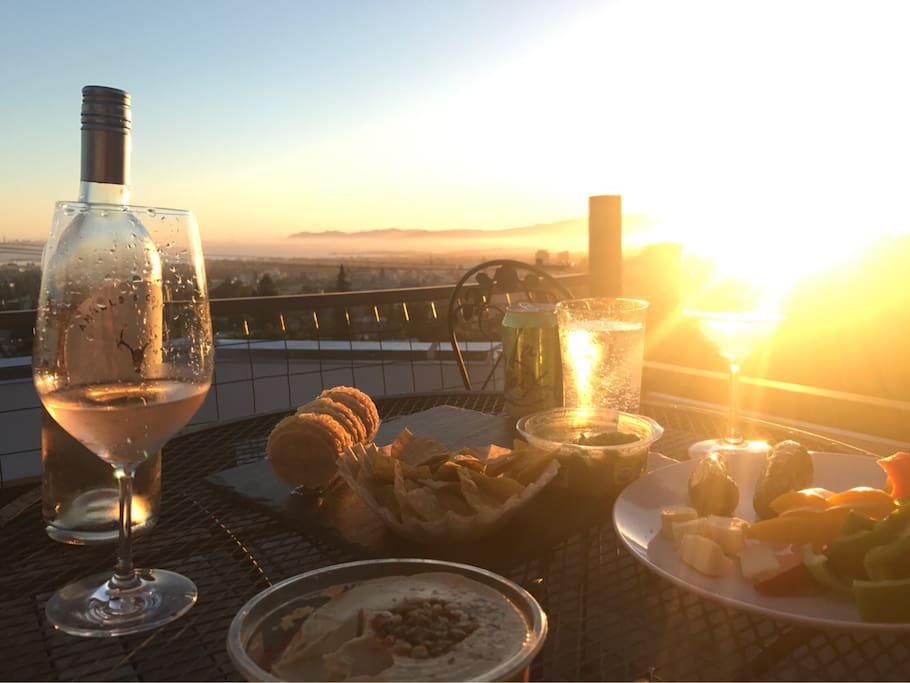 Dinner on the roof deck with golden gate views