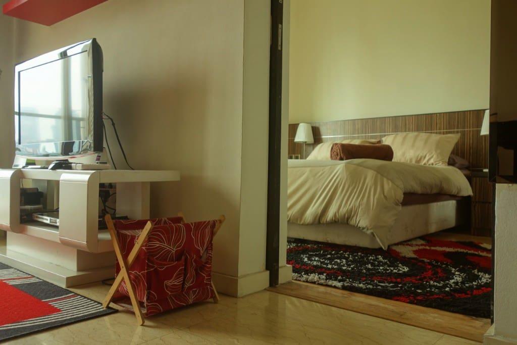A sliding door opens into the bedroom