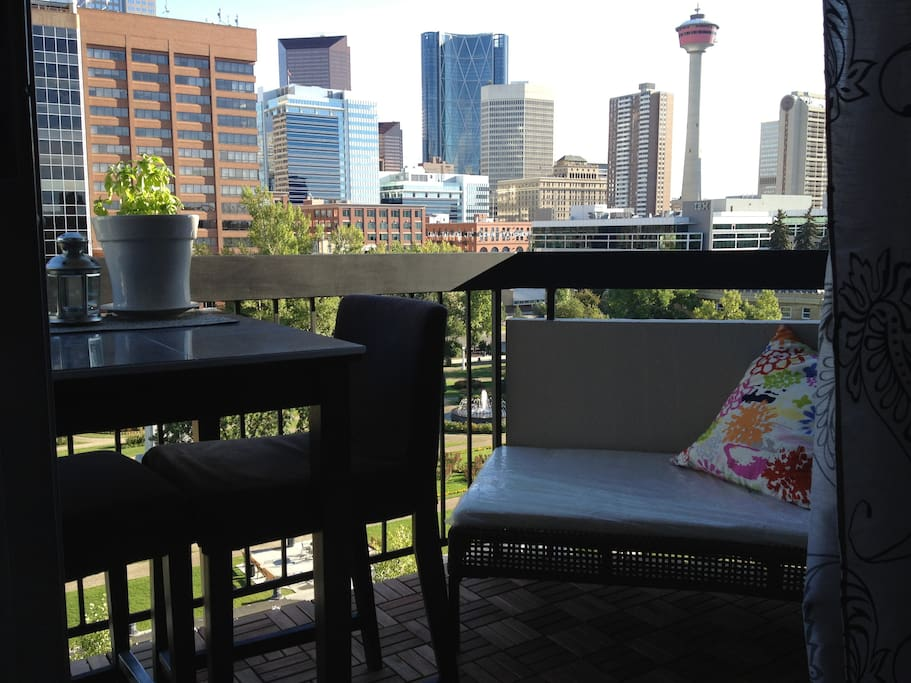 Terrace with view over park & downtown. Hightop table & stools for summer dining al fresco!