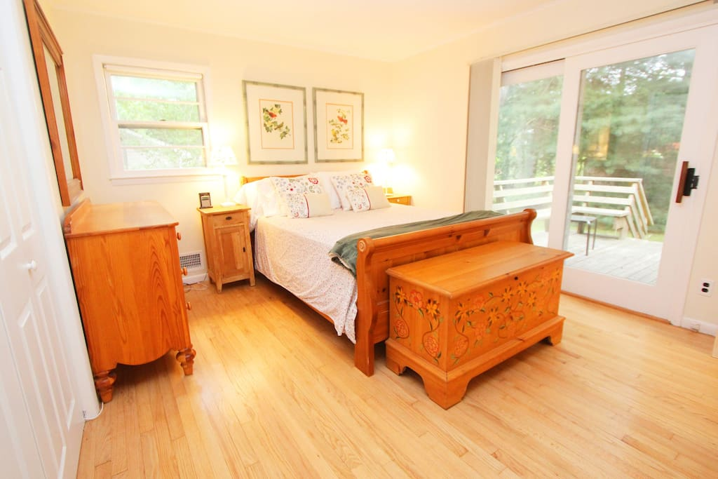 Master Bedroom with private deck and full bath.