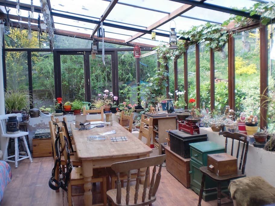 The sun room is lovely for breakfasting.
