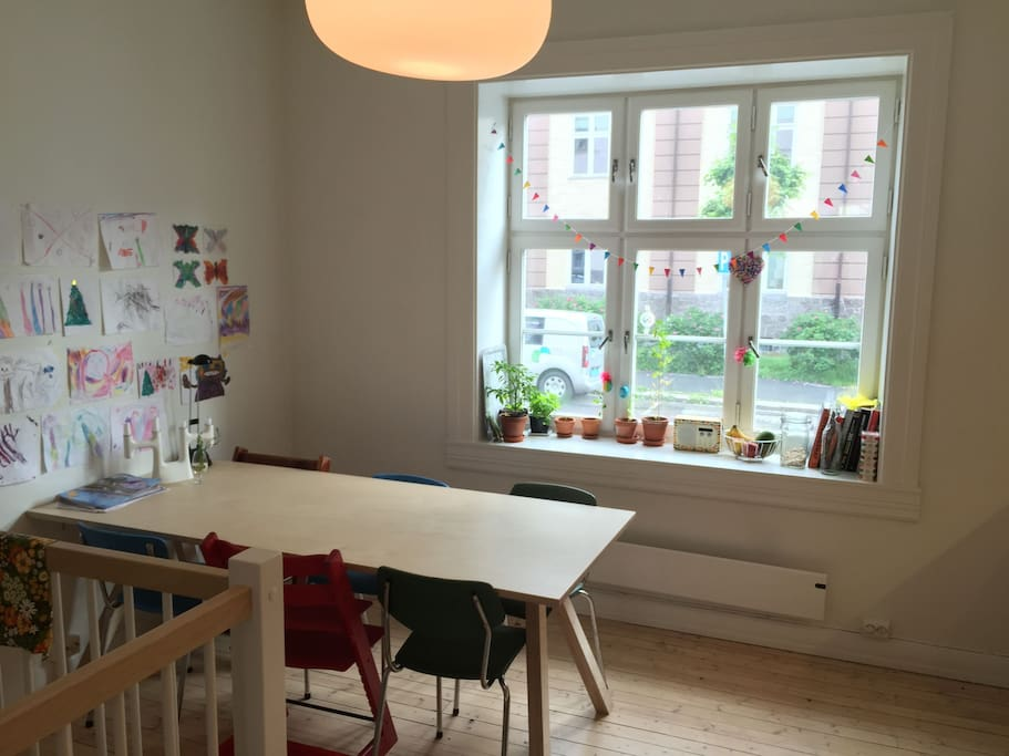 Large kitchen table, 2 childrens chairs
