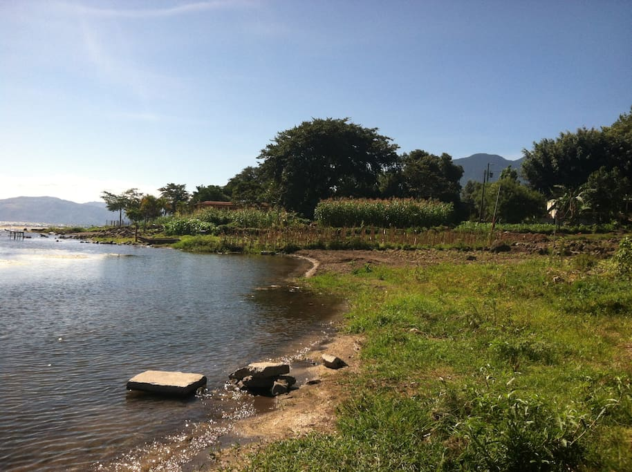 View of Punto d'Oro in front of cottage.  During the day, local people bathe, wash clothes, fish, and draw water for their crops from this lake that many consider sacred.
