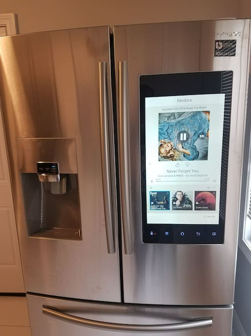 Samsung Smart Fridge- Listen to music, Watch TV, Order Food, Grocery Shop,  Save recipes, and more! ALL FROM FRIDGE!!!