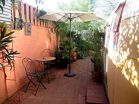 A Cute, Small, Renovated Vintage Trailer & Patio