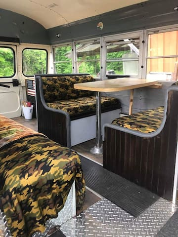 (.9mi from Temple) WW2-style short bus, apt access