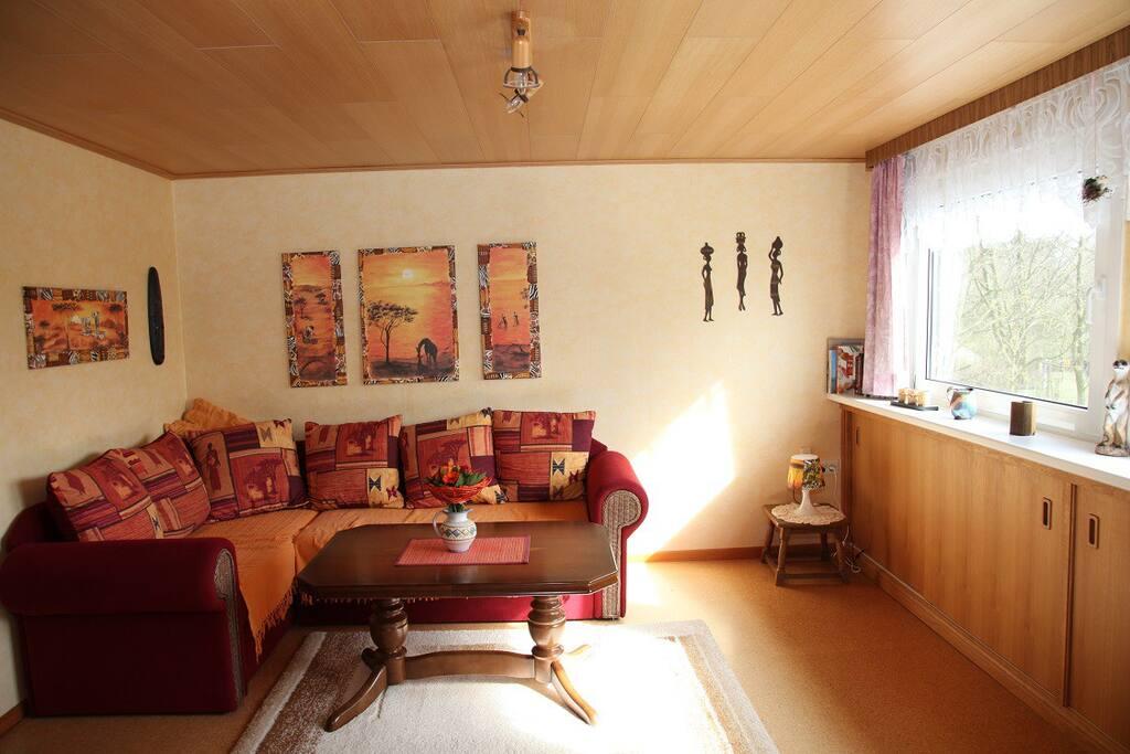 Wohnzimmer mit Schlafcouch 1,40 breit