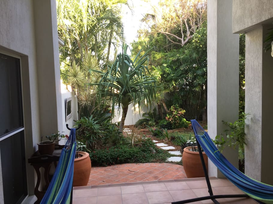 Hammocks in the private courtyard are a delight in the afternoon