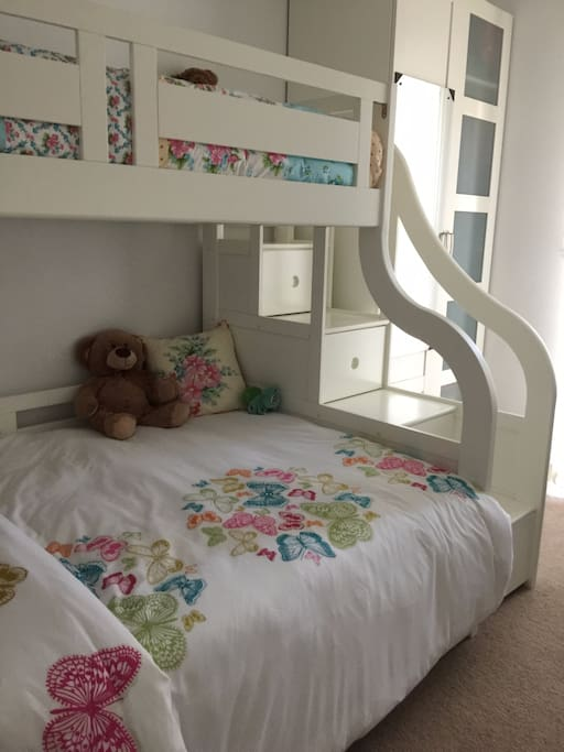 """Triple sleeper bunk bed (3ft Single bed on top, 4ft6"""" Double bed at bottom). Storage stairs to upper bed."""
