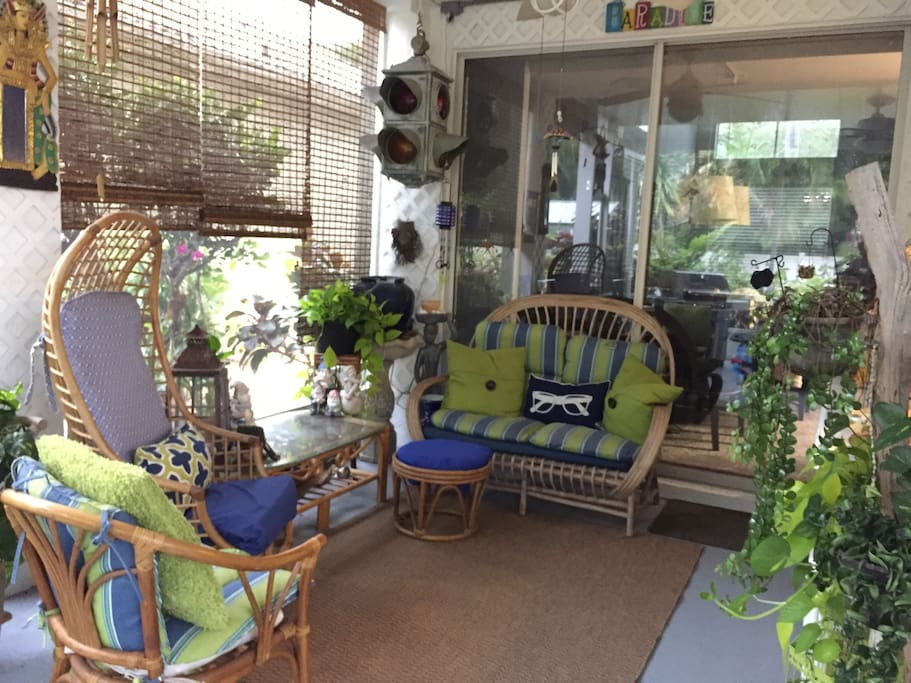 Relax on the screened in patio