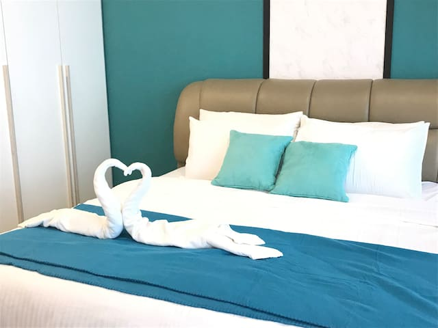 The king size bed with good mattress will give you deep sleep and wake up next day with full energy.