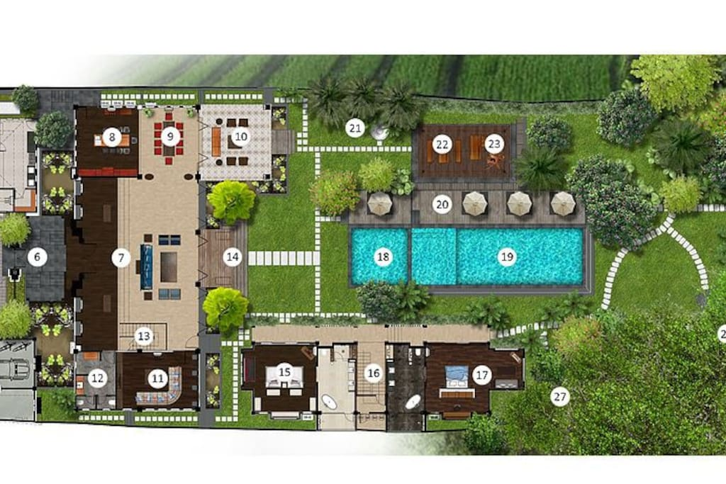 Ground floor plan: 1. Villa gate 2. Garage & storage 3. Driveway 4. Gym pavillion 5. Service house 6. Main house gate 7. Grand room 8. Guest kitchen 9. Dining area 10. Colonial lounge 11. Media/TV room 12. Guest rest room 13. Staircase to main house upper floor 14. Terrace 15. Batavia Suite 16. Staircase to guest house upper floor 17. Ubud Suite 18. Kids plunge pool 19. Swimming pool 20. Sunbed area 21. Outdoor shower 22. Outdoor dining area 23. Outdoor lounge 24. House main temple 25. River pavilion 26. Outdoor spa tub 27. House shrine