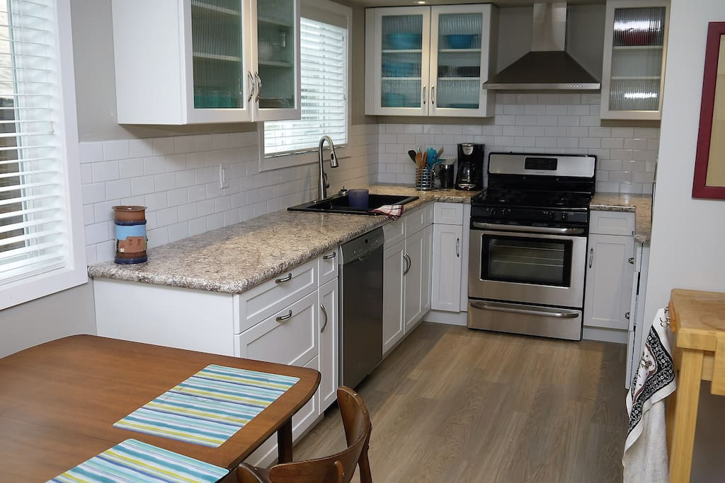 Brand new appliances including a gas stove