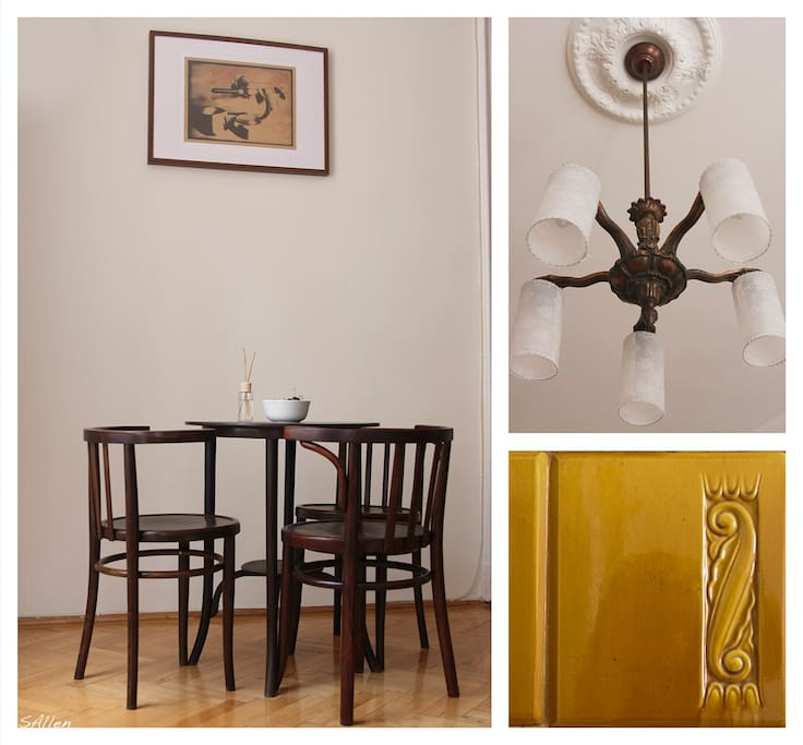 Contemporary hungarian art in the company of and Thonet chairs.