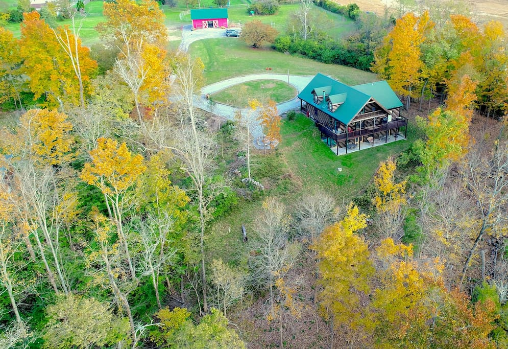 A great look back from a drone on how private our cabin is.  You can also see the location of the barn we keep our animals in.