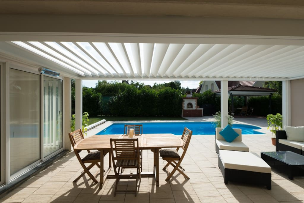 Pergola overlooking pool