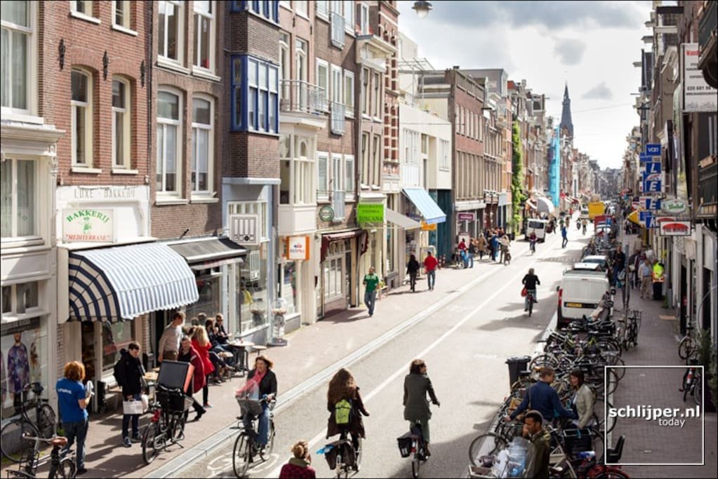 Popular Haarlemmerdijk  5 min walking with many nice and authentic restaurants and bars