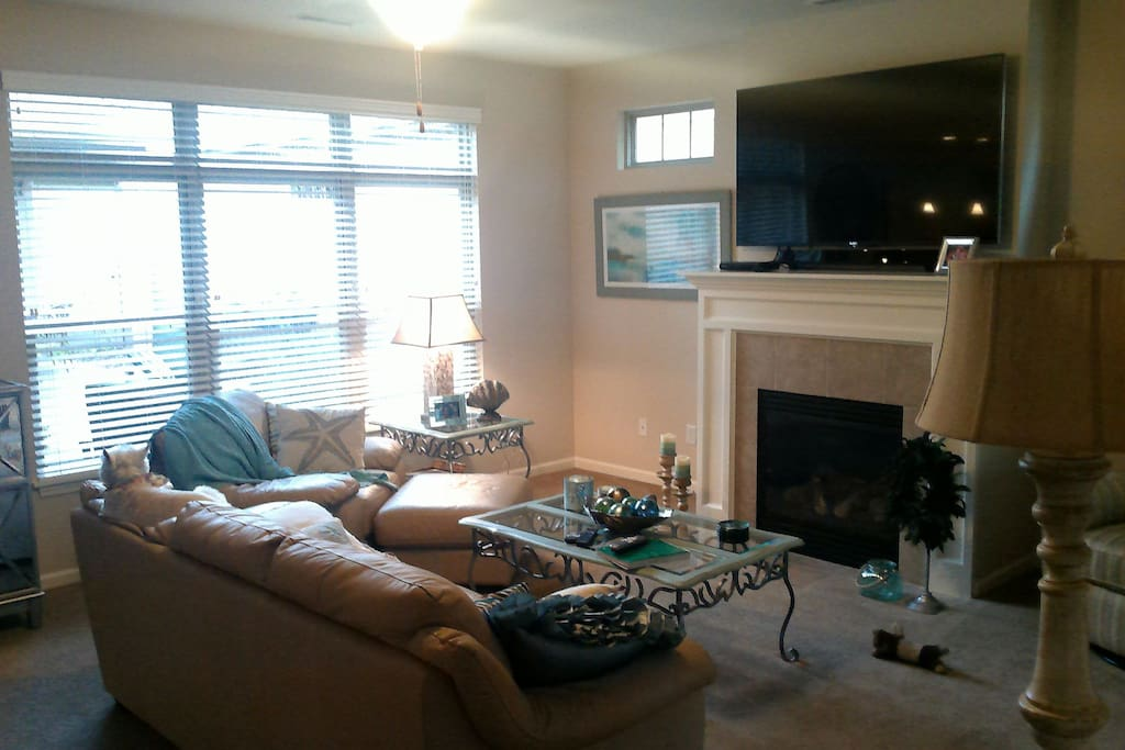 Living room with 70 inch smart TV