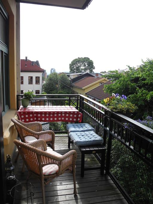 Balcony, with evening sun.