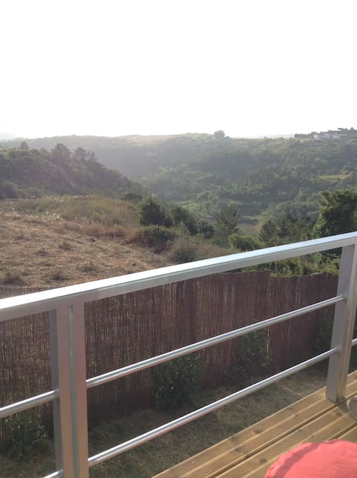 The view from the balcony overlooking a green valley