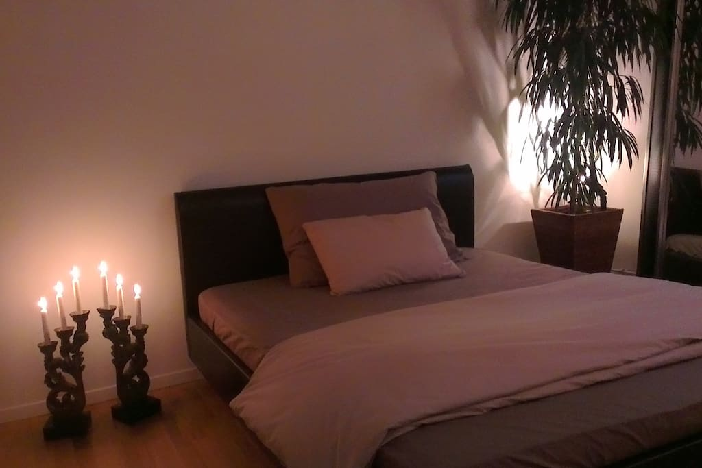 At night - comfortable and big bedroom with king-size bed