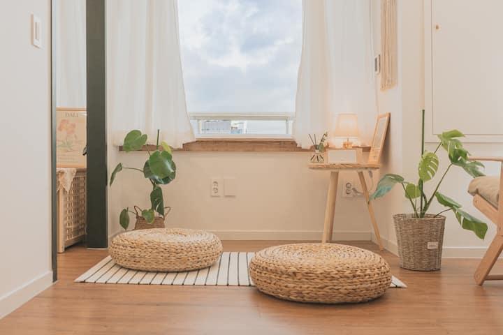 #원목, 식물, 그림으로 꾸며진 규룽구 하우스