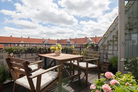 We offer a large apartment (120 square meters) 5 rooms plus a big terrace, on the fifth floor, in a nice and popular area of Copenhagen. The apartment is 2 minutes from the metro, that will bring you fast to the center of the city. we have a big.