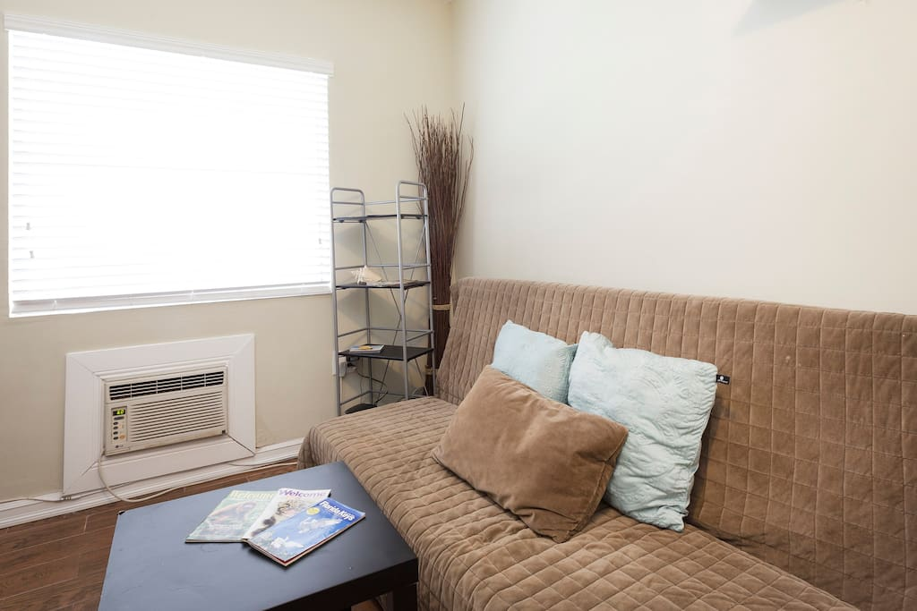 Functional living space with full size sofa bed