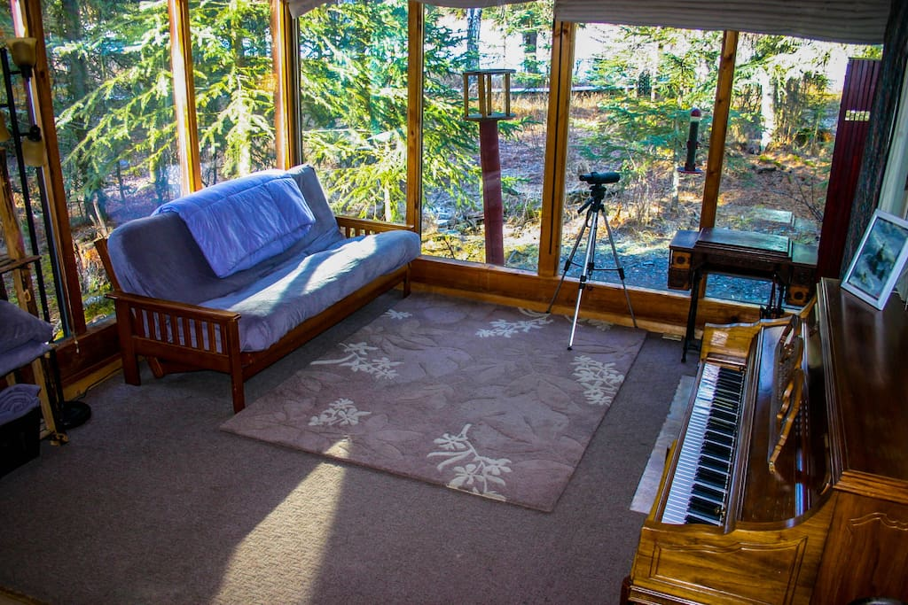 We call this the river room.  It is a wonderful area to relax and watch the river and the birds.