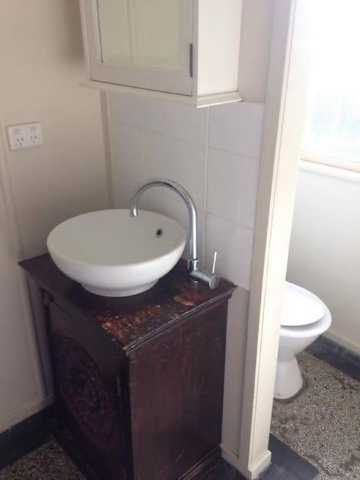 Bathroom, vanity and toilet