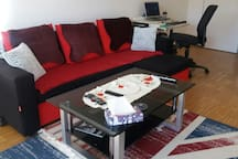 LIVING ROOM   Couch with sleeping furnction in the living room, that can accomodate two  persons.  As of 31.08.2019