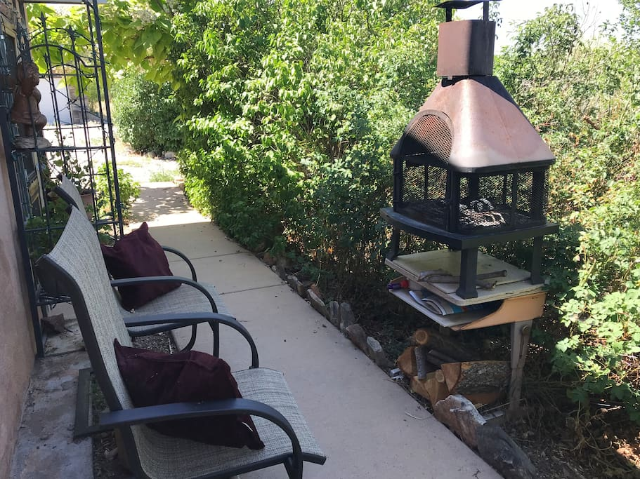 Garden seating for two with fire pit