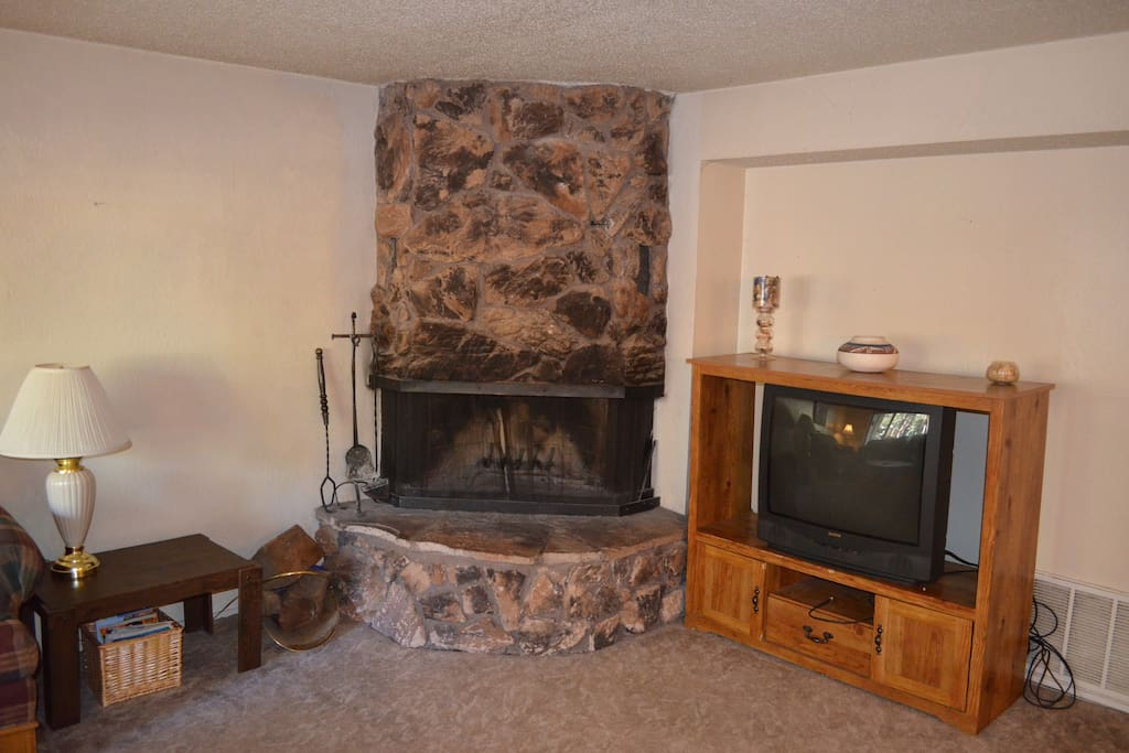 Wood fireplace for those cold Tahoe nights!